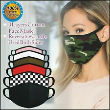 Face Mask 3 Pack Cotton Washable Reusable Filtered Mens Womens Kids Fashionable