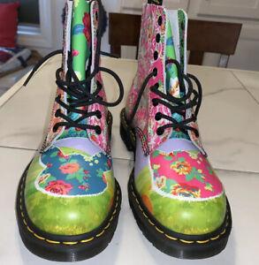 Dr Martens Pascal Daze Combat Boots Cats Rabbits Floral Neon US9 UK7 EU41
