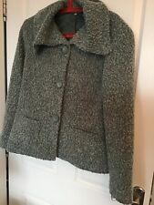 EWM Boucle Teal Quirky Lagenlook Boxy Jacket Wool Blend 16