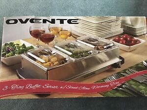 Ovente 3 Tray Buffet Server w/Stand-Alone Warming Tray Model# FW153S Brand New
