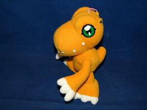 """Vtg Digimon Digital Monsters Agumon Plush Stuffed Doll Banpresto 2000 Hanger 5"""""""