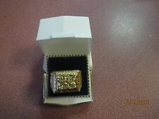 GREAT GIFT HGE Men's HANDSOME GOLD PLATED Ring Size 9 TWO ROW CLEAR CRYSTALS
