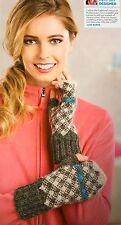KNITTING PATTERN Fair Isle Fingerless Gloves Tartan Plaid Design Mittens PATTERN