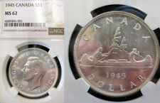 Canada 1945 Dollar, Rare NGC 62 PQ+++, Better Date, Sharp, Luster, Low Mintage