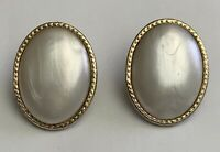 Vintage Christian Dior Faux Pearl Rhinestone Clip On Earrings