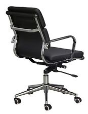 Eames Replica Mid Back Office Chair - BLACK Vegan Leather, high density foam