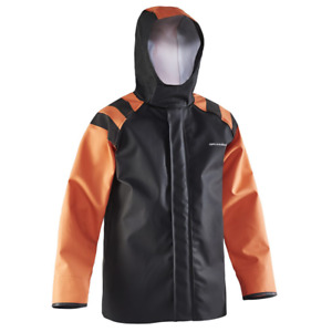 Grundens Balder 320 Orange and Black Hooded Commercial Fishing Rain Jacket Coat