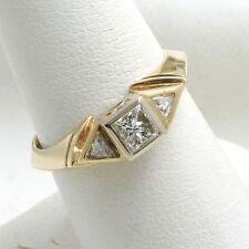 Diamond Engagement Ring Princess Trillion 3 stone 0.70 carat 14k yellow gold NEW