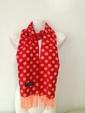 100% CASHMERE SCARF POLKA DOT DESIGN RED ORANGE MADE IN SCOTLAND SUPER SOFT