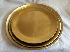 Set Of 3 Gold And Black Lacquer Round Platters / Trays, Japan