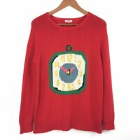 Cath Kidston Red Graphic Clock Stopwatch Cost Knit Jumper Wool Alpaca Mix S 8 10
