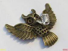 Steampunk Insignia Broche Pin Bronce Pipa De Tabaco Fumar Volando Búho de Harry Potter