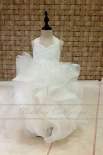 Flower Girl Dress Lace With Horse Hair Cross Back Tulle Ball Gown Floor Length