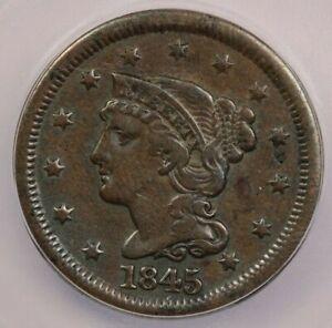1845-P 1845 Coronet Head large Cent ICG VF20 Details