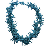 """Unique Vintage Blue Seed Bead 16-18"""" Beaded Necklace - Branch Coral Fringe Look"""