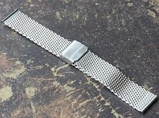 Heavy Stainless Steel 2.5mm mesh 24mm watch bracelet adjusts to most size wrists