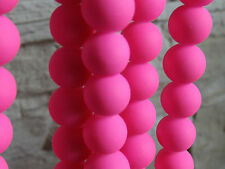 15 perles FLUO  rondes ROSE 10mm création bracelet shamballa, bijoux