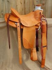 """Western Natural Leather Roper Ranch Hand Tooled and Carved 17"""" Saddle"""