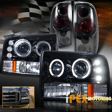 (SHINY BLACK+SMOKE) 1999-2004 Ford F250 F350 Halo Projector LED Head Light+Tail
