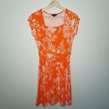 Lands' End Women's Dress XS 2-4 Orange Tropical Floral Stretch Knit Short Sleeve