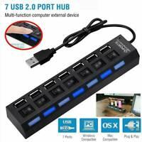 USB 3.0 Hub Charger Switch Splitter Powered AC Adapter 7-Port PC Laptop Desktop