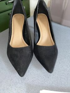 UK 3.5 ASOS Black Suede Court Shoes Pointed Toe High Heel