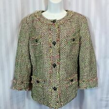 Talbots Size 12 Pink Green Black Ivory Tweed Boucle Blazer