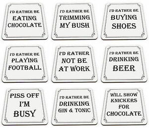 I'd Rather Be Range of Funny Rude Novelty Glossy Mug Coaster - Brand New