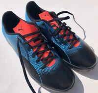 Puma Spirit II TT Soccer Shoes Men's Size 12 Black Bleu Azur Red Blast 105523 01
