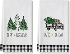 Artoid Mode Happy Holiday Buffalo Plaid Truck Trees Kitchen Towels and Dish Towe