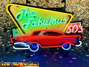 "N-0113 Neon "" The Fabulous 50`s "" Schild Leuchtreklame Diner Neonreklame Vintage"