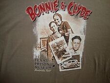 Bonnie and Clyde Bank Robbers Criminals Texas Prison Museum T Shirt NWOT 2XL