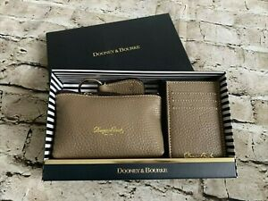 NIB DOONEY & BOURKE Taupe Pebble Grain Leather 3-Piece Accessory Gift Set Boxed