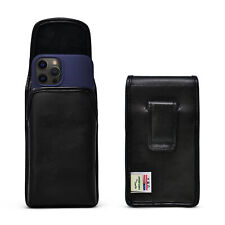 iPhone 12 & 12 Pro 5G (2020) Vertical Holster Case Black Leather Pouch with