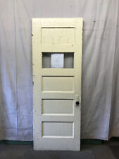 Wood School 5 Panel Door with 1 Pane of Glass Architectural Salvage 33x89-1/2