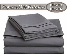 Clara Clark Supreme 1500 Collection 4pc Bed Sheet Set - Queen Size, Charcoal