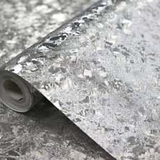 ARTHOUSE VELVET CRUSH FOIL LUXURY TEXTURED SILVER VINYL WALLPAPER 294301
