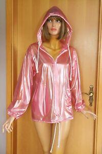 PVC-Jacke, leicht transparent, Kapuze,  pink-metallic