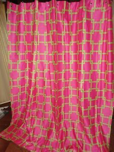 TOMMY HILFIGER PINK & GREEN YELLOW GEOMETRIC (1) LINED SHOWER CURTAIN 70 X 76