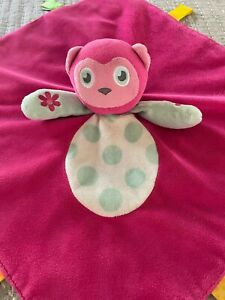 Taggies Lovey Pink Monkey EUC Clean Soft Blue Dots Rattle Plush 15 x 14 Satin