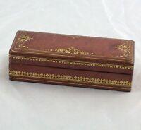 "Antique Florentine Tooled Gilt Leather Stamp Desk Box Italy 6-1/4"""