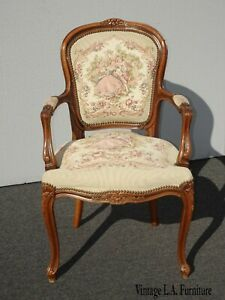 Vintage French Louis XV Style Floral Tapestry Chair Chateau D'AX Made in Italy 2