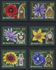 Flowers and Clocks set of 6 mnh stamps 2013 Romania #5411-6