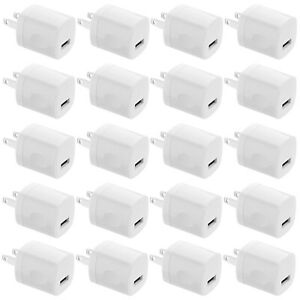 100x Lot 1A USB Power Adapter AC Home Wall Charger US Plug FOR iPhone 11 8 7 6