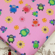 100% Cotton Poplin Fabric by FQ Sun Flowers Chick Penguin Baby Cartoon A104 Pink