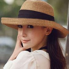 New Fashion Summer Women Black Bow Beach Sun Hat Straw Cap Foldable Floppy