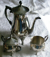 LEONARD SILVER PLATE FOUR PIECE TEA SET,  GOOD SHAPE , ADD CLASS TO YOUR TABLE