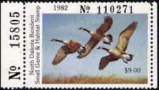 NORTH DAKOTA #1A 1982 STATE DUCK HUNTER TYPE VF NH PLT # by Richard Plassacheart