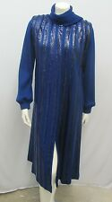 VINTAGE PYTHON SILK WOOL COAT ROYAL BLUE BUILT-IN SCARF REALLY MAGNIFICENT S/M