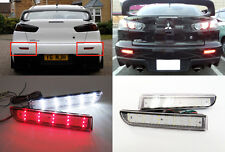 CLEAR Lens LED Bumper Reflector Tail Backup Light For Mitsubishi Lancer EvoX RVR